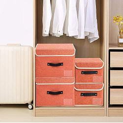 2 Pack Storage Bins Boxes Linen Collapsible Cube Set Organizer Basket with Lid & Handle, Jane's Home Foldable Fabric Containers for Clothes, Toys, Closet, Office, Nursery (Grey & Orange)