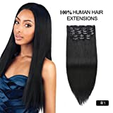 Clip in Human Hair Extensions Black, Re4U 14inch Silky Straight #1 Jet Black Real Clip in Hair Extensions African American 110grams Real Remy Hair (14' 10pcs 110g #1 Jet Black)