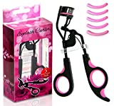 Express Beauty Boutique Eyelash Curler Curling Set with Silicone Refill Replacement Pads Pink, 5pc