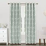 Sun Zero Caroline Woven Damask Blackout Lined Grommet Curtain Panel, 52' x 84', Aqua