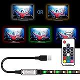 USB LED Strip Lights Kit, Bias Lighting with RF Remote Controller, IP65 Waterproof Flexible Strip Light, 5050 RGBW, 5V USB Cable TV Backlight Kit, Lighting Rope for TV, TV Lights, LED Strip (6.56ft)