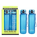 Survivor Sports Water Bottles (32oz) - 2 Bottle Set (2 Liters Total) with Leakproof Quick-Lock Lids, Hydration Reminder and Convenient Carry Straps - BPA Free - Yoga, Cycling, and Runner Waterbottle