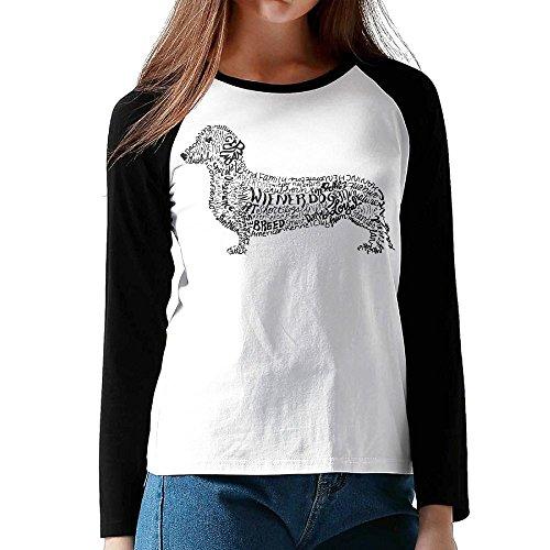 Dachshund Weiner Word Art Shirts,Long Sleeve Tee For Women