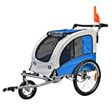 BuyHive Pet Bike Trailer Dog Cat Bicycle Carrier Stroller Jogger Shopping Cycling Wagon (Grey & Blue)