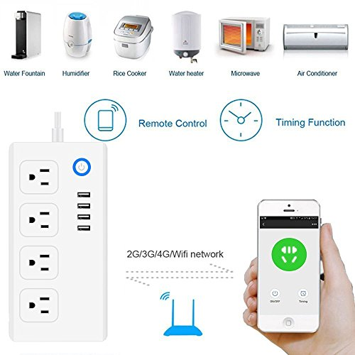 Smart Power Strip, VPRAWLS WiFi Power Socket Surge Protector Multi Plug  with 4 AC Outlets and 4 USB Outlets Works with Google Assistant Remote  Control