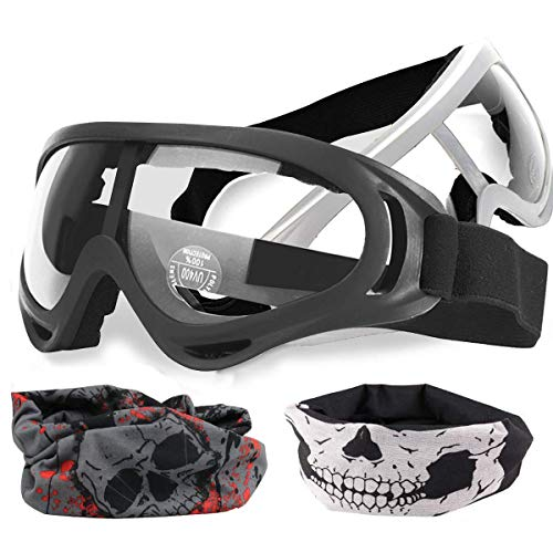 POKONBOY 2-Pack Adjustable Mask with 2 Pack Blaster Face Mask Compatible with Nerf Guns N-Strike Elite Series Foam Gun and / Goggles / Eye Shield (1 Black Mask - 1 White Mask)
