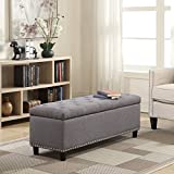 Belleze 48' Rectangular Gray Storage Fabric Ottoman Bench Tufted Footrest Lift Top
