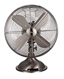 Hunter Home Comfort Hunter Retro Table Fan, 12', Brushed Nickel