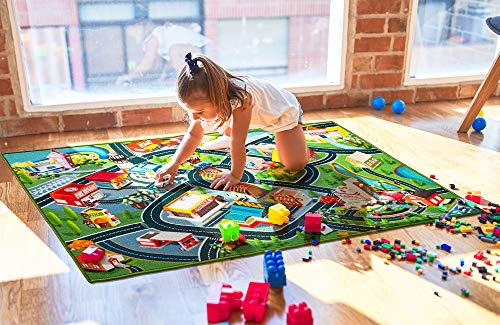 Kids Carpet Playmat Rug Fun Carpet City Map For Hot Wheels Track Racing And Toys Floor