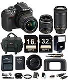 Nikon D3400 DSLR Camera w/ 18-55mm & 70-300mm Lenses and Promotional Holiday Bundle