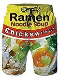 SKYRAINBOW Men's Swim Trunks Quick Dry Beachwear Chicken Flavor Ramen Noodle Soup Printed Summer Surfing Drawstring Shorts with Side Pockets Mesh Lining