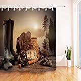 youyoutang Misty Lake Fly Fishing Equipment On Deck Shower Curtain Set Polyester Fabric 3D High-Definition Printing Does Not Fade,12 Shower Hooks,70.8X70.8 Inch,Home Decor,Bathroom Accessories