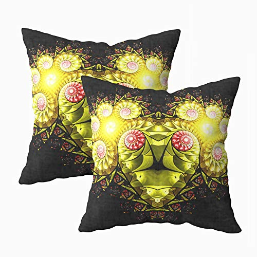 ROOLAYS Pillow Covers 18X18 Inch, Square Throw Pillowcase Covers 2PCS Abstract Pattern The Zodiac Sign Aries Fractal Art Graphics Reminiscent Both Sides Farmhouse Decor Cushion