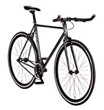 Big Shot Bikes | Dublin Black | Fixie Track Bike | Single Speed or Fixed Gear | Matte Black & Black Accents | for Men & Women | Rider Height 5'7' to 5'11' | Medium