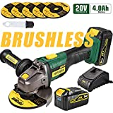 """Angle Grinder Cordless, POPOMAN 20V 5 Inch Brushless Angle Grinder 10000RPM/4.0Ah Li-Ion Battery, 3-Position Adjustable Auxiliary Handle, 5pcs Grinding Wheel 5"""", Fast Charger"""