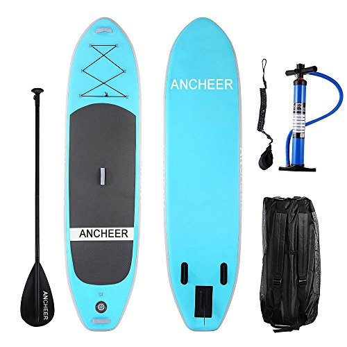 ANCHEER Inflatable Stand Up Paddle Board 10', iSUP Package w/Adjustable Paddle, Leash, Pump and Backpack (AS10_Blue_10' x 30'' x 6''_0.9mm Single Layer PVC)