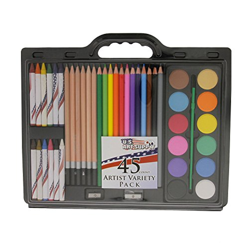 US Art Supply® Brand 45 Piece Art Set with Water Colour Cakes * Now Includes a FREE Reusable Plastic Carry Case.