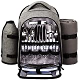 Hap Tim - Waterproof Picnic Backpack for 4 Person with Cutlery Set, Cooler Compartment, Detachable Bottle/Wine Holder, Fleece Blanket, Plates for Picnic Time(Gray)