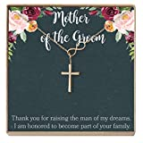 Dear Ava Mother of The Groom Gift Necklace: Parent of The Groom Jewelry, Infinity Cross (Rose-Gold-Plated-Brass, NA)