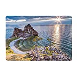 Travel Yoga mat Shaman Rock Lake Baikal in Russia Coastal Theme Sun Rays Scenic Vista Print Kitchen mat Green Brown Blue 16'x 24'