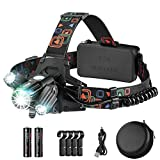 Headlamp, Rechargeable Headlamp Flashlight with 4 Lighting Mode, USB & Batteries Powered Waterproof Head Lamp, Side Light 360°Adjustable LED Helmet Lamp with 4 Clips for Camping, Hiking, Fishing