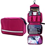 Relavel Travel Toiletry Bag Business Toiletries Bag for Men Shaving Kit Waterproof Compact Hanging Travel Cosmetic Pouch Case for Women (Hot Pink)