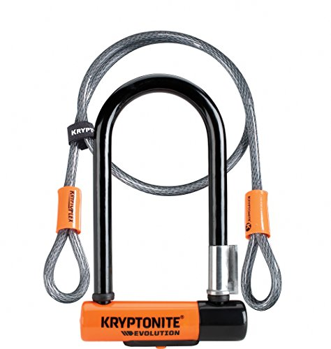 Kryptonite New-U Evolution Mini-7 Heavy Duty Bicycle U Lock w/ 4' KryptoFlex Double Loop Bike Cable