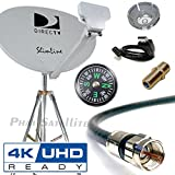 DIRECTV 4K SWM3 Complete Kit for Portable Mobile Camping RV Tailgate Trailer, Tripod, RG6 Coax, HDMI, Slimline Dish Reverse Band SL3 for UHD Genie H24 H25 HR34 HR44 HR55