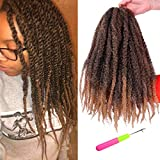 Marley Braiding Hair Afro Mixed Colour Maley Hair Kinky Twist Crochet Synthetic Hair Extension for Black Women 3 Packs 18 Inch(T1B/27#)