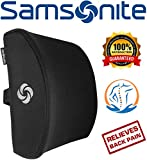 Samsonite SA5243 - Ergonomic Lumbar Support Pillow - Helps Relieve Lower Back Pain - 100% Pure Memory Foam - Improves Posture - Fits Most Seats - Breathable Mesh - Washable Cover - Adjustable Strap