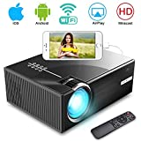 WiFi Projector, iBosi Cheng Portable Video Projector LCD Movie Projector Full HD 1080P Home Theater Projector with 2800 Lux, Multimedia Projector with HDMI USB VGA Ports for Laptop Smartphones