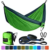 FARLAND Outdoor Camping Hammock - Portable Anti-Fade Nylon Double Hammock with 2 Piece 16 Loop Straps Parachute Lightweight Hammock for Hiking Backpacking(Dark Green/Fruit Green,Double 78 x 118)