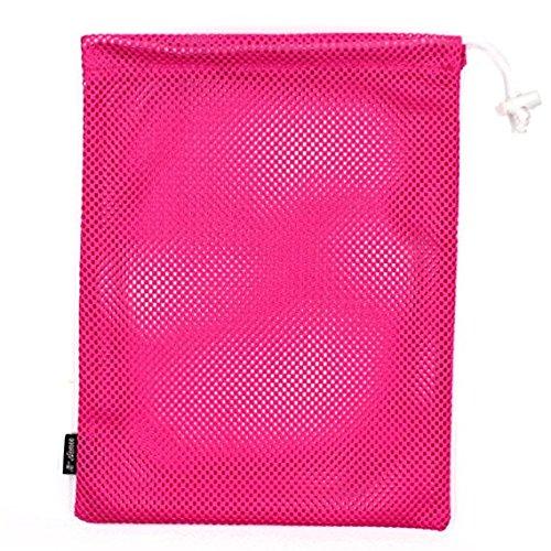 MoMaek Set of 4 Nylon Mesh Storage Ditty Bag Stuff Sack for Travel & Outdoor Activity (Hot Pink)