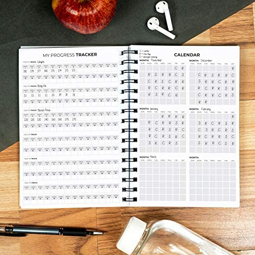 Clever Fox Fitness & Workout Journal/Planner Daily Exercise Log Book to Track Your Lifts, Cardio, Body Weight Tracker - Spiral-Bound, Laminated Cover, Thick Pages, A5 7
