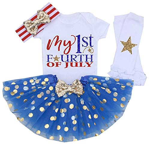 4PCS July 4th Baby Girl Summer Skirt Set My 1st 4th of July Clothes Princess Dress Set (White&Blue, 18-24 Months)