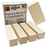 Basswood - Beginner's Premium Carving Blocks Kit - Best Wood Carving Kit for Kids - Preferred Soft Wood Block Sizes Included - Made in The USA