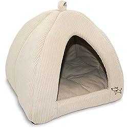 Best Pet Supplies Corduroy Tent Bed for Pets, Beige - X-Large