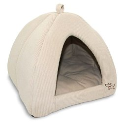 Best Pet SuppliesPet Tent-Soft Bed for Dog and Cat by Best Pet Supplies – Beige Corduroy, 16″ x 16″ x H:14″