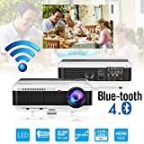 Bluetooth Projector Wireless LED 4600 Lumen Android Bluetooth Proyector Smart Wifi HD WXGA Home Theatre Projectors Airplay Miracast LCD 1080P Android Projector with Bluetooth HDMI USB VGA AV Audio Out