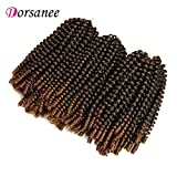 3 Packs Spring Twist Crochet Braiding Hair Spring Twists Crochet Braids Fluffy Twist Hair Ombre Color Afro Kinky Curly Hair Extensions (1B/30#)