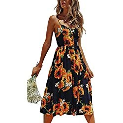 Angashion Women's Dresses-Summer Floral Bohemian Spaghetti Strap Button Down Swing Midi Dress with Pockets 650 Sunflower 2XL