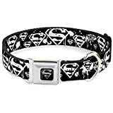"Buckle-Down Seatbelt Buckle Dog Collar - Superman Shield Splatter Black/White - 1"" Wide - Fits 9-15"" Neck - Small"