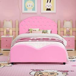 Costzon Toddler Bed, Twin Size Upholstered Platform Bed W/Embedded Crystal Wood Bedframe Cylindrical Feet for Kids Boys & Girls, Children Classic Sleeping Bedroom Furniture(Pink)