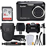 Kodak PIXPRO FZ43 Digital Camera (Black) + 16GB Memory Card + Deluxe Point and Shoot Camera Case + Extendable Monopod + Lens Cleaning Pen + LCD Screen Protectors + Table Top Tripod - Top Valued Bundle