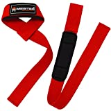 Meister Neoprene-Padded No-Slip Weight Lifting Straps for Grip (Pair) - Red