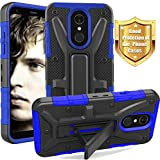 LG Q7 Case, LG Q7+ Case, LG Q7 Plus Case, Yiakeng Dual Layer Shockproof Wallet Slim with Kickstand Hard Phone Protective Cases Cover for LG Q7 (Blue)