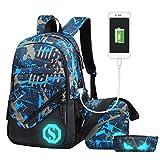 Fantastic Zone Boy Girl School Backpack for Childrens for Middle School, 3 Sets of Capacity 20L School Bag, Pencil Bag & Shoulder Bag, Book Backpack with Florescent Mark