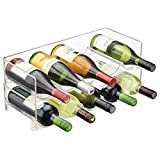 mDesign Plastic Free-Standing Water Bottle and Wine Rack Storage Organizer for Kitchen Countertops, Table Top, Pantry, Fridge - Stackable, Each Rack Holds 5 Bottles - 2 Pack, Clear