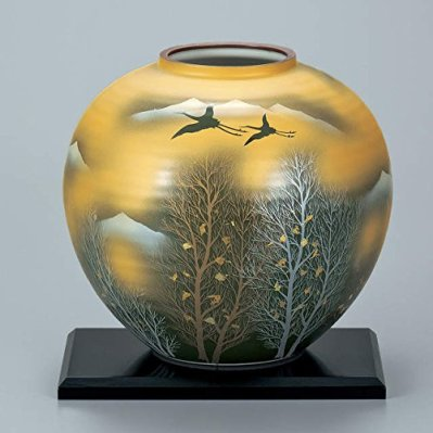 "Japanese drawn Ceramic Porcelain kutani ware. Japanese Ikebana flower vase with a stand. Gold crane."" Japanese ceramic Hagiyakiya 1053"