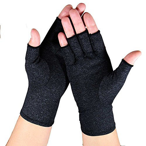 Arthritis Gloves - Relief Finger Joint Pain, Compression Gloves for Arthritis in Hands - Arthritic Fingerless Gloves (L, Grey)